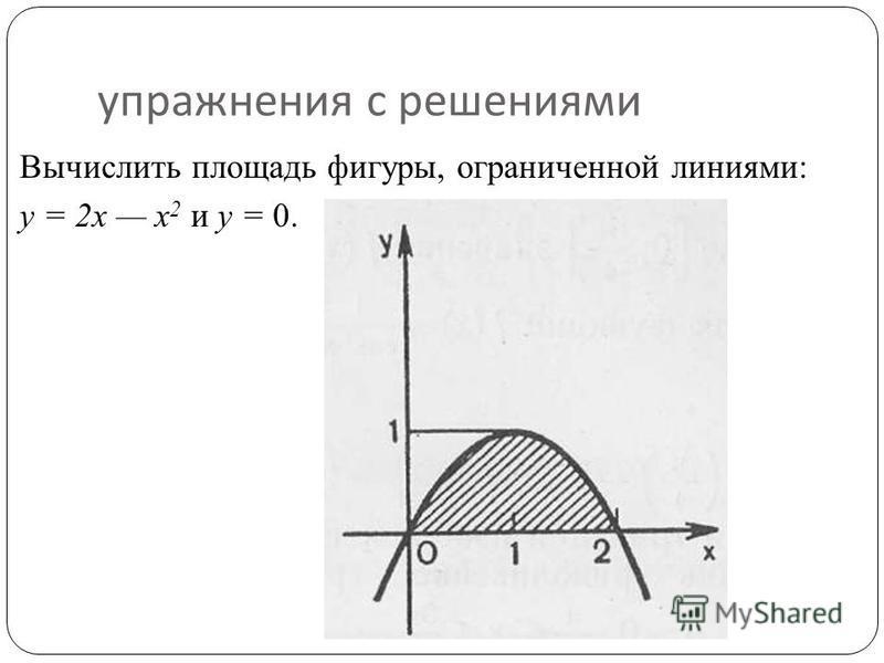 упражнения с решениями Вычислить площадь фигуры, ограниченной линиями: у = 2 х х 2 и у = 0.