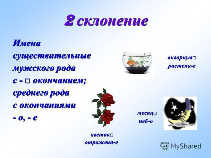 2 склонение Именасуществительные мужского рода с - окончанием; среднего рода с окончаниями - о, - е цветок цветок отражени-е отражени-е аквариум аквариум растени-е растени-е месяц месяц неб-о неб-о