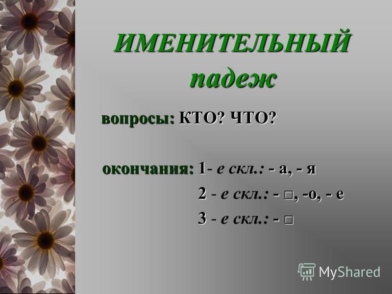 ИМЕНИТЕЛЬНЫЙ падеж ИМЕНИТЕЛЬНЫЙ падеж вопросы:КТО? ЧТО? вопросы: КТО? ЧТО? окончания:1- а, - я окончания: 1- е скл.: - а, - я 2-,-о, - е 2 - е скл.: -, -о, - е 3- 3 - е скл.: -