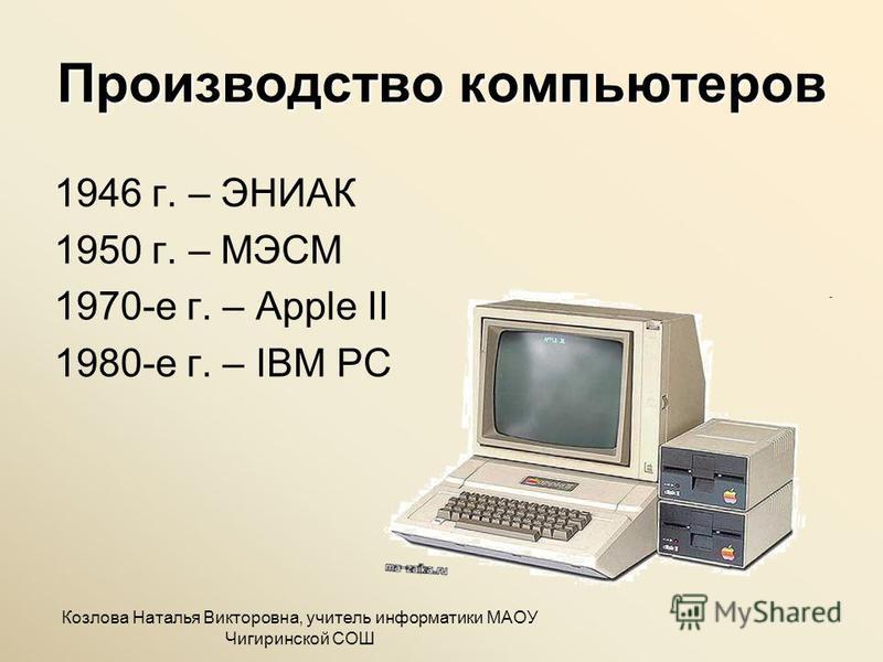 Производство компьютеров 1946 г. – ЭНИАК 1950 г. – МЭСМ 1970-е г. – Apple II 1980-е г. – IBM PC Козлова Наталья Викторовна, учитель информатики МАОУ Чигиринской СОШ