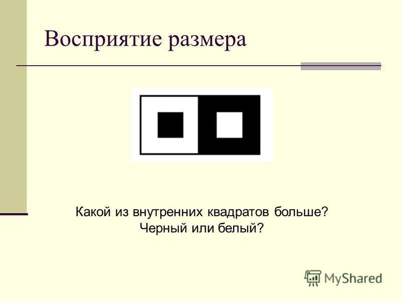 Восприятие размера Какой из внутренних квадратов больше? Черный или белый?