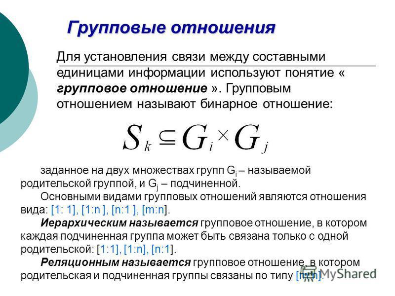 Групповые отношения Для установления связи между составными единицами иинформации используют понятие « групповое отношение ». Групповым отношением называют бинарное отношение: заданное на двух множествах групп G i – называемой родительской группой, и