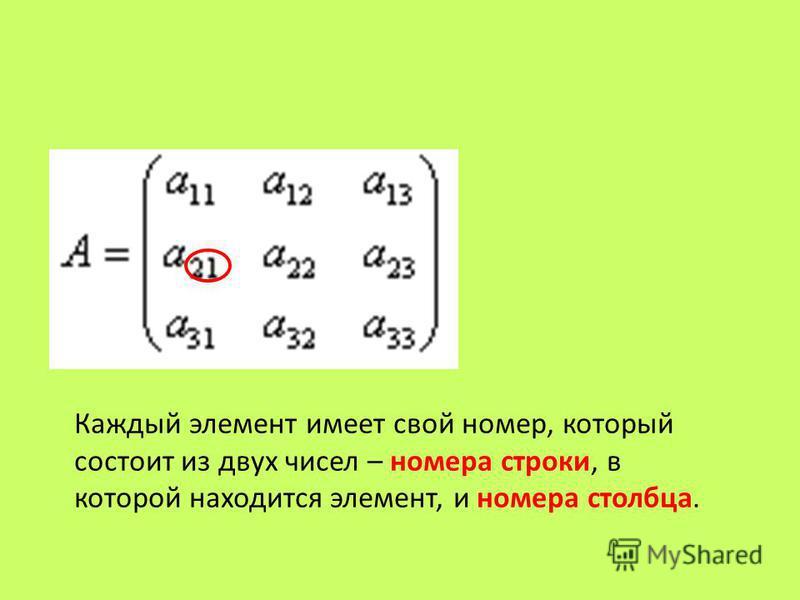 Каждый элемент имеет свой номер, который состоит из двух чисел – номера строки, в которой находится элемент, и номера столбца.
