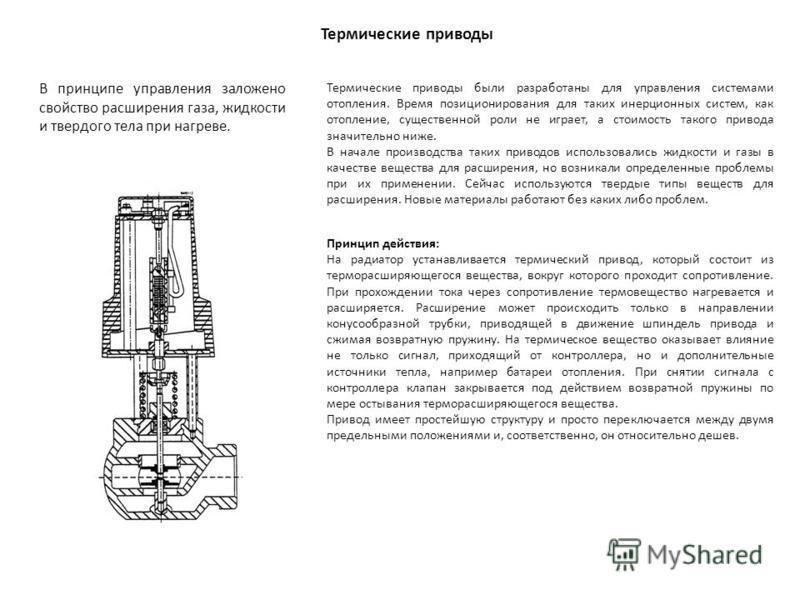 Термические приводы Термические приводы были разработаны для управления системами отопления. Время позиционирования для таких инерционных систем, как отопление, существенной роли не играет, а стоимость такого привода значительно ниже. В начале произв