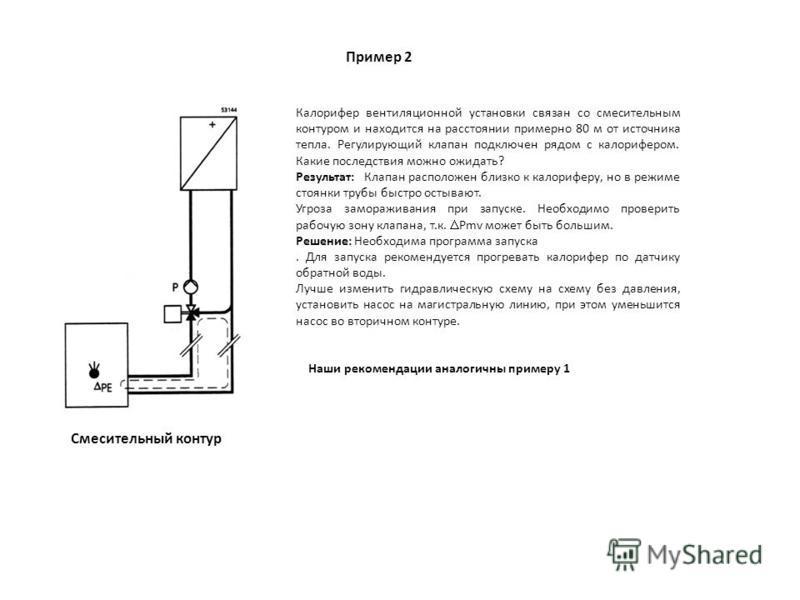 Пример 2 Смесительный контур Калорифер вентиляционной установки связан со смесительным контуром и находится на расстоянии примерно 80 м от источника тепла. Регулирующий клапан подключен рядом с калорифером. Какие последствия можно ожидать? Результат: