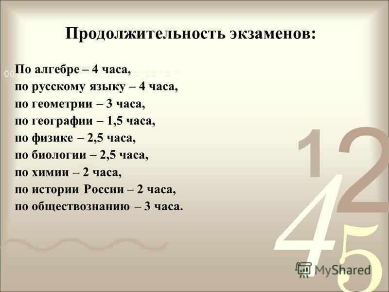 Продолжительность экзаменов: По алгебре – 4 часа, по русскому языку – 4 часа, по геометрии – 3 часа, по географии – 1,5 часа, по физике – 2,5 часа, по биологии – 2,5 часа, по химии – 2 часа, по истории России – 2 часа, по обществознанию – 3 часа.