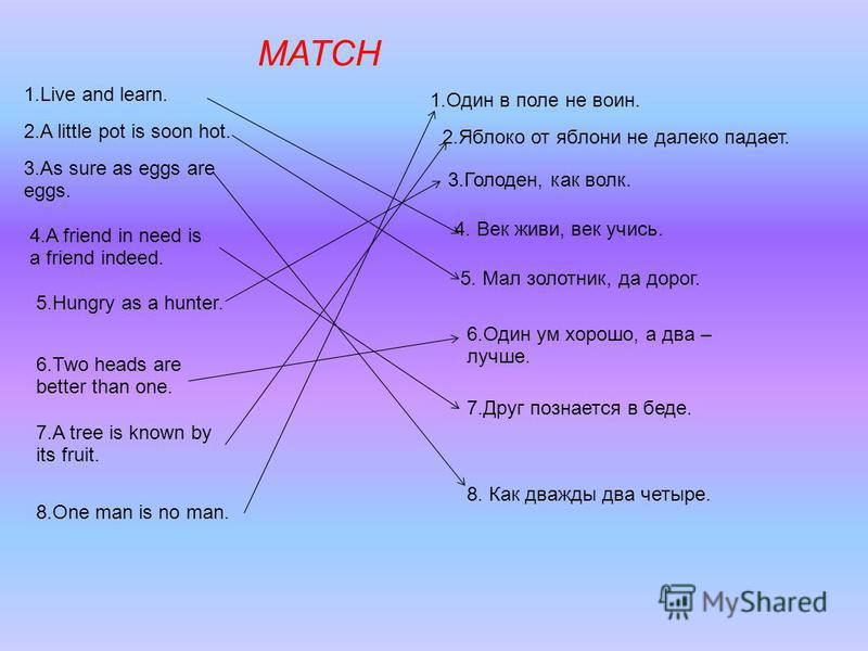 MATCH 1. Live and learn. 2. A little pot is soon hot. 3. As sure as eggs are eggs. 4. A friend in need is a friend indeed. 5. Hungry as a hunter. 6. Two heads are better than one. 7. A tree is known by its fruit. 8. One man is no man. 1. Один в поле