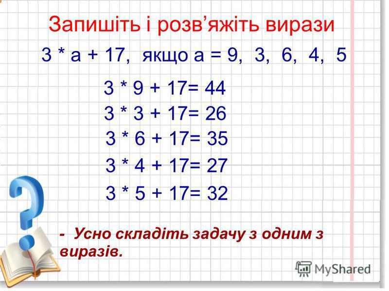 Усна лічба 2*9+7 16:2+17 18:2+10 9 3*5+9 3*9-12 2*8-4 25 19 24 25 6 12
