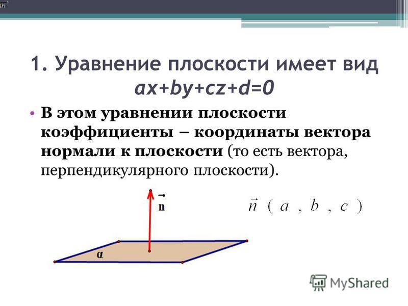 1. Уравнение плоскости имеет вид ax+by+cz+d=0 В этом уравнении плоскости коэффициенты – координаты вектора нормали к плоскости (то есть вектора, перпендикулярного плоскости).