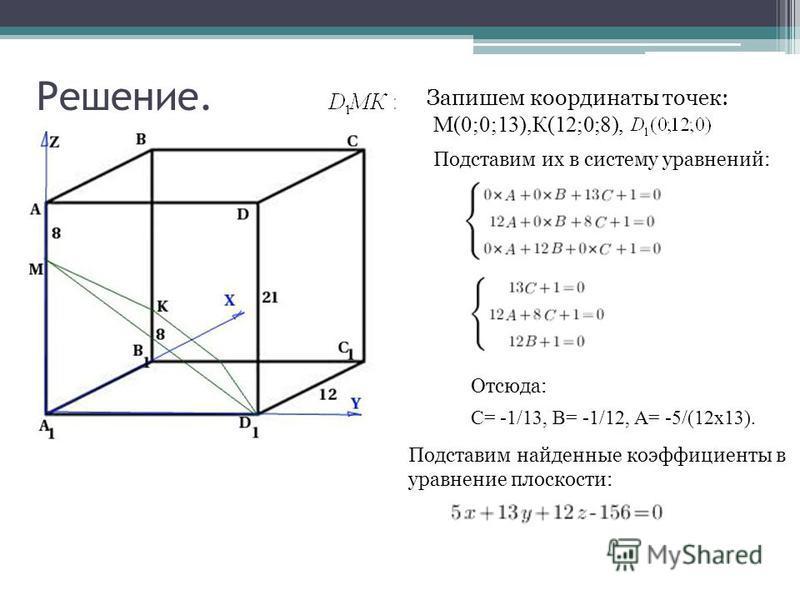 Решение. Запишем координаты точек: М(0;0;13),К(12;0;8), Подставим их в систему уравнений: Отсюда: С= -1/13, В= -1/12, А= -5/(12 х 13). Подставим найденные коэффициенты в уравнение плоскости: