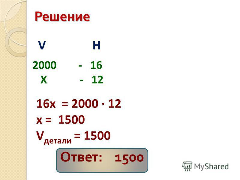 Решение 2000 - 16 X - 12 VH 16x = 2000 12 x = 1500 V детали = 1500 Ответ : 1500