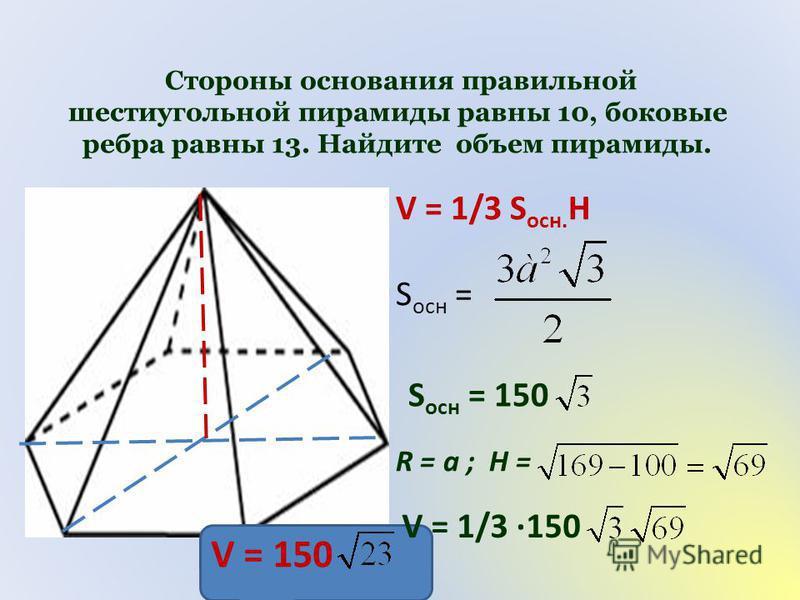 Стороны основания правильной шестиугольной пирамиды равны 10, боковые ребра равны 13. Найдите объем пирамиды. V = 1/3 S осн. H S осн = S осн = 150 R = a ; H = V = 1/3 150 V = 150