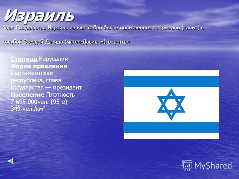 Израиль Флаг Государства Израиль являет собой белое молитвенное покрывало (талии) с голубой Звездой Давида (меган-Давидом) в центре Столица Иерусалим Форма правления Парламентская республика, глава государства президент Население Плотность 7 695 000