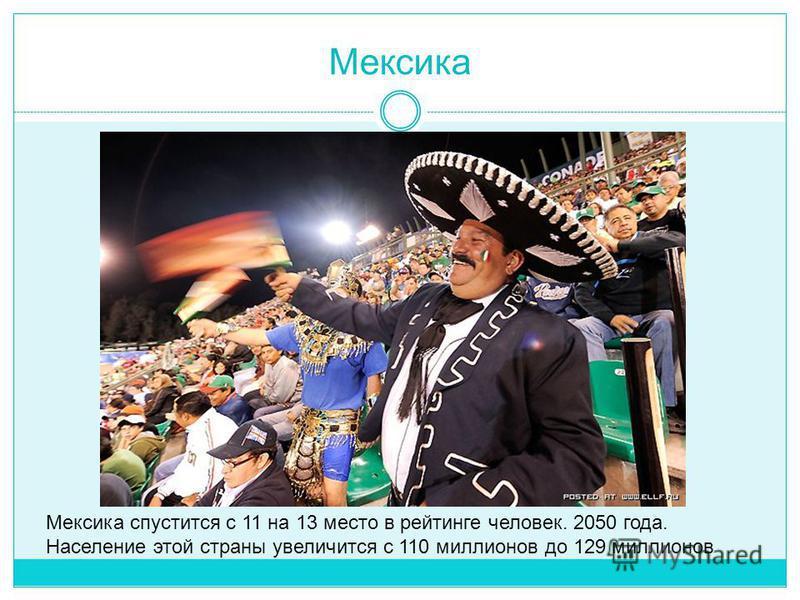 Мексика Мексика спустится с 11 на 13 место в рейтинге человек. 2050 года. Население этой страны увеличится с 110 миллионов до 129 миллионов