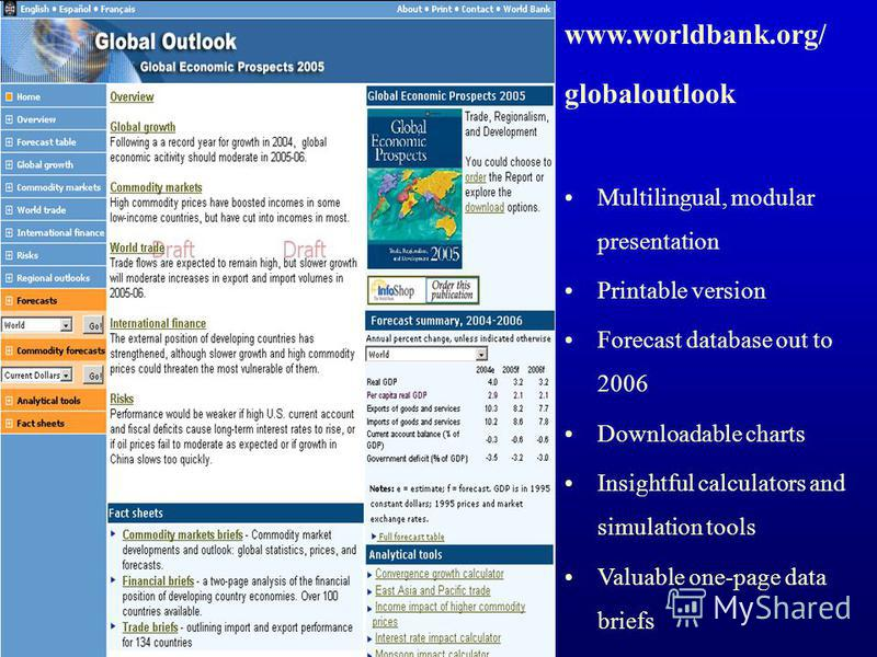 www.worldbank.org/ globaloutlook Multilingual, modular presentation Printable version Forecast database out to 2006 Downloadable charts Insightful calculators and simulation tools Valuable one-page data briefs