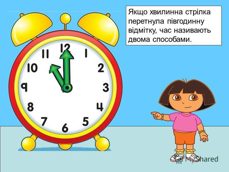Якщо хвилинна стрілка перетнула півгодинну відмітку, час називають двома способами.