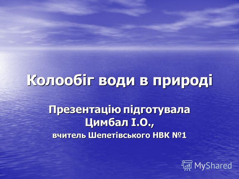Колообіг води в природі Презентацію підготувала Цимбал І.О., вчитель Шепетівського НВК 1