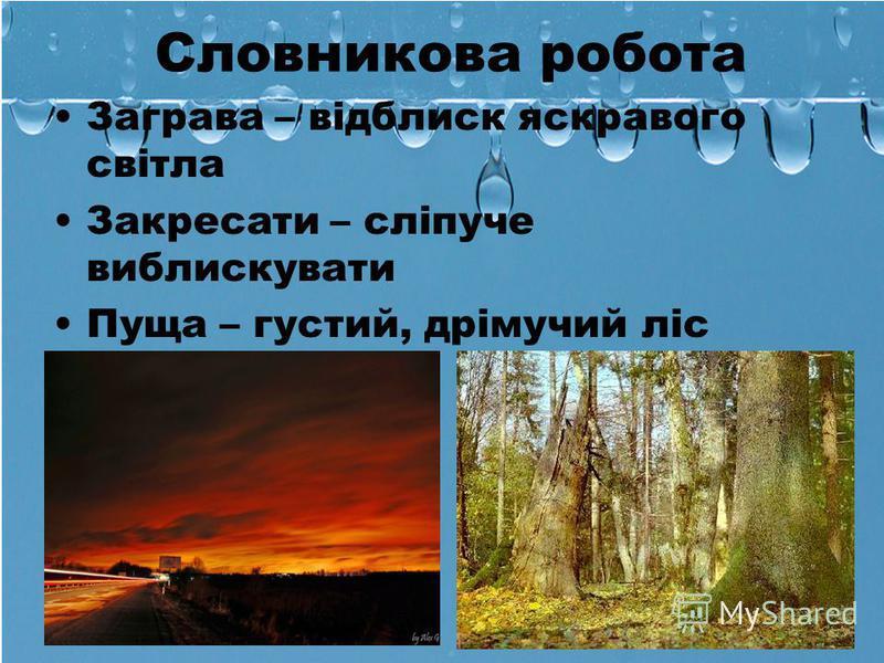 Словникова робота Заграва – відблиск яскравого світла Закресати – сліпуче виблискувати Пуща – густий, дрімучий ліс
