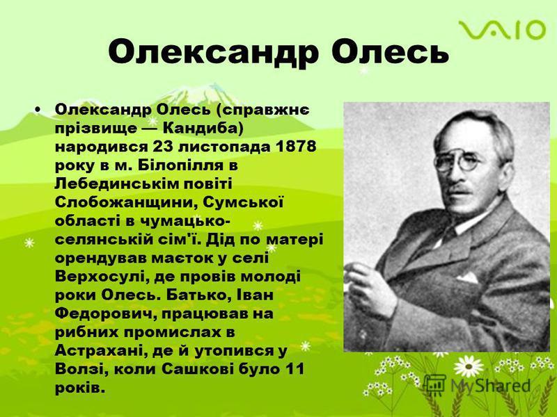 Олександр Олесь Олександр Олесь (справжнє прізвище Кандиба) народився 23 листопада 1878 року в м. Білопілля в Лебединськім повіті Слобожанщини, Сумської області в чумацько- селянській сім'ї. Дід по матері орендував маєток у селі Верхосулі, де провів