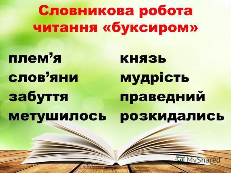 Словникова робота читання «буксиром» племякнязь словянимудрість забуттяправедний метушилосьрозкидались