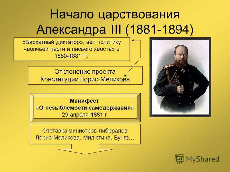 Начало царствования Александра III (1881-1894) 1 марта 1881 года Отклонение проекта Конституции Лорис-Меликова «Бархатный диктатор», вел политику «волчьей пасти и лисьего хвоста» в 1880-1881 гг. Манифест «О незыблемости самодержавия» 29 апреля 1881 г