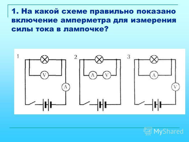 1. На какой схеме правильно показано включение амперметра для измерения силы тока в лампочке?