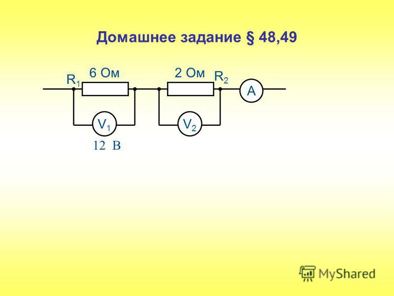 Домашнее задание § 48,49 V1V1 V2V2 А 6 Ом 2 Ом R1R1 R2R2 12 В