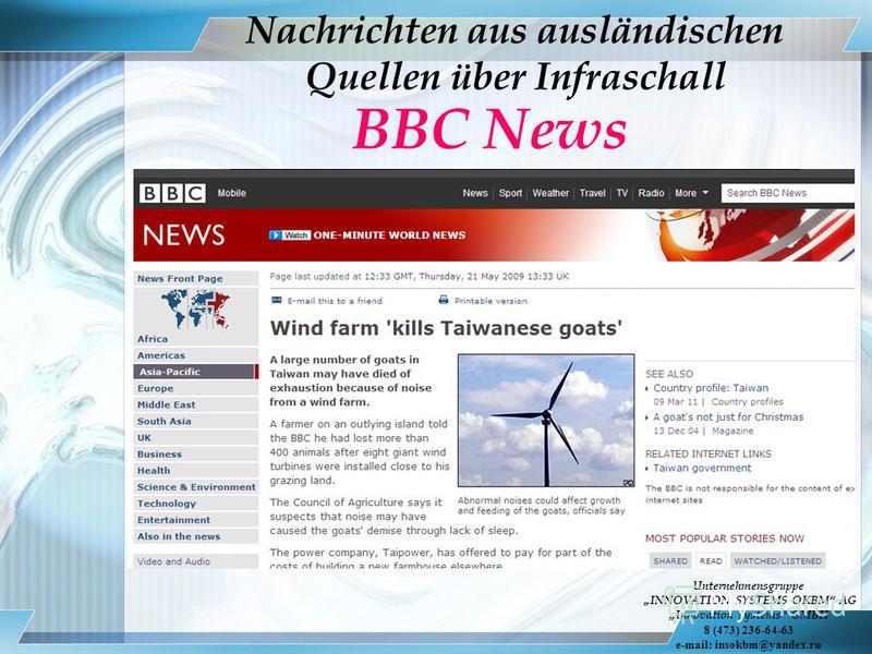 Nachrichten aus ausländischen Quellen über Infraschall BBC News Unternehmensgruppe INNOVATION SYSTEMS OKBM AG Innovation systems GMBH 8 (473) 236-64-63 e-mail: insokbm@yandex.ru