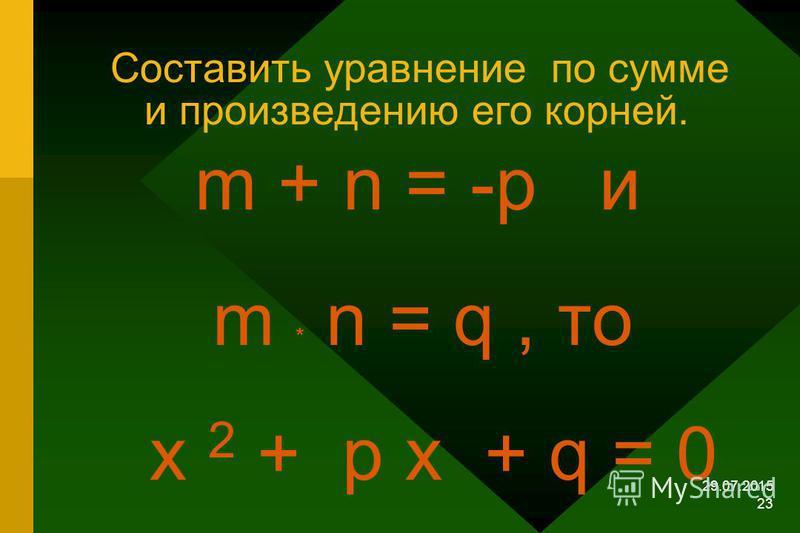 29.07.2015 22 Утверждение обратное теореме Виета. Теорема. Если числа m и n таковы, что их сумма равна - p, а произведение равно q, то эти числа являются корнями уравнения х 2 + ps +q = 0 т.е. m + n = -p ; m * n = q