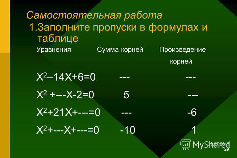 29.07.2015 28 Составьте квадратное уравнение. -3 и –5 z 2 + 8z + 15 = 0