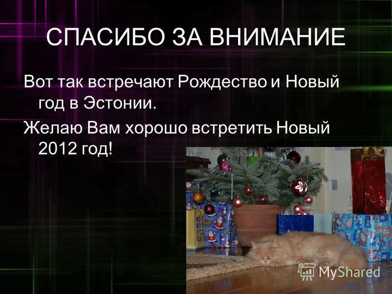 СПАСИБО ЗА ВНИМАНИЕ Вот так встречают Рождество и Новый год в Эстонии. Желаю Вам хорошо встретить Новый 2012 год!.