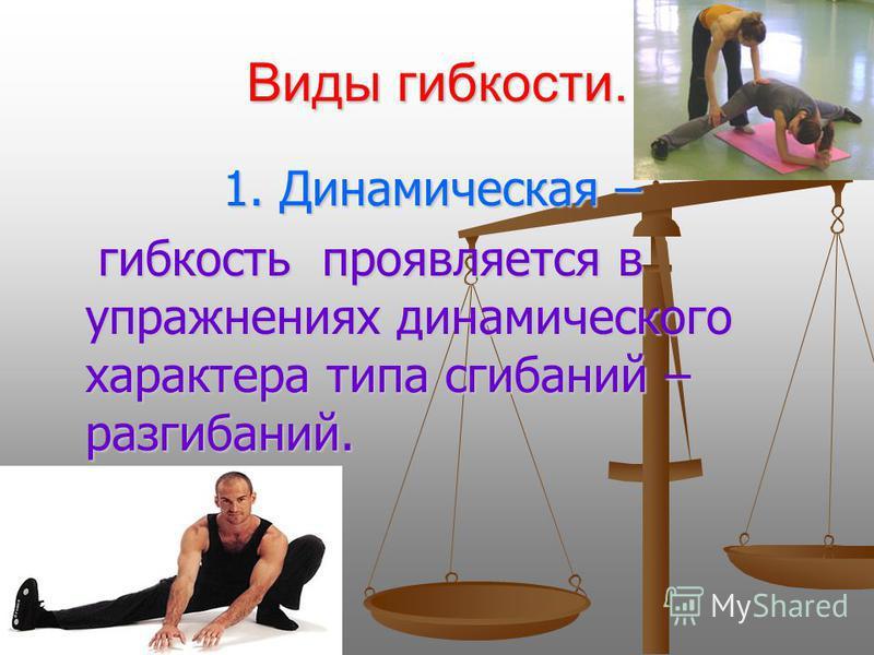 Виды гибкости. 1. Динамическая – 1. Динамическая – гибкость проявляется в упражнениях динамического характера типа сгибаний – разгибаний. гибкость проявляется в упражнениях динамического характера типа сгибаний – разгибаний.
