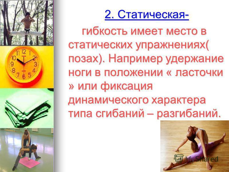 2. Статическая- 2. Статическая- гибкость имеет место в статических упражнениях( позах). Например удержание ноги в положении « ласточки » или фиксация динамического характера типа сгибаний – разгибаний. гибкость имеет место в статических упражнениях(