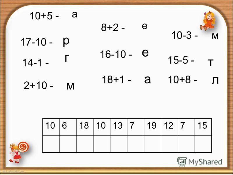 1 17-10 - 14-1 - 2+10 - 16-10 - 18+1 - 15-5 - 10+8 - р г м е а т л 10618101371912715 8+2 - е 10-3 -м 10+5 - а