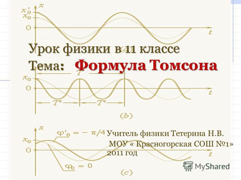 Урок физики в 11 классе Тема: Формула Томсона Учитель физики Тетерина Н.В. МОУ « Красногорская СОШ 1» 2011 год