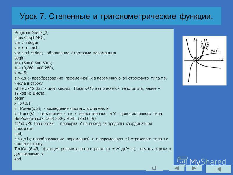 Урок 7. Степенные и тригонометрические функции. Program Grafik_3; uses GraphABC; var y: integer; var k, x: real; var s,s1: string; - объявление строковых переменных begin line (500,0,500,500); line (0,250,1000,250); x:=-15; str(x,s); - преобразование