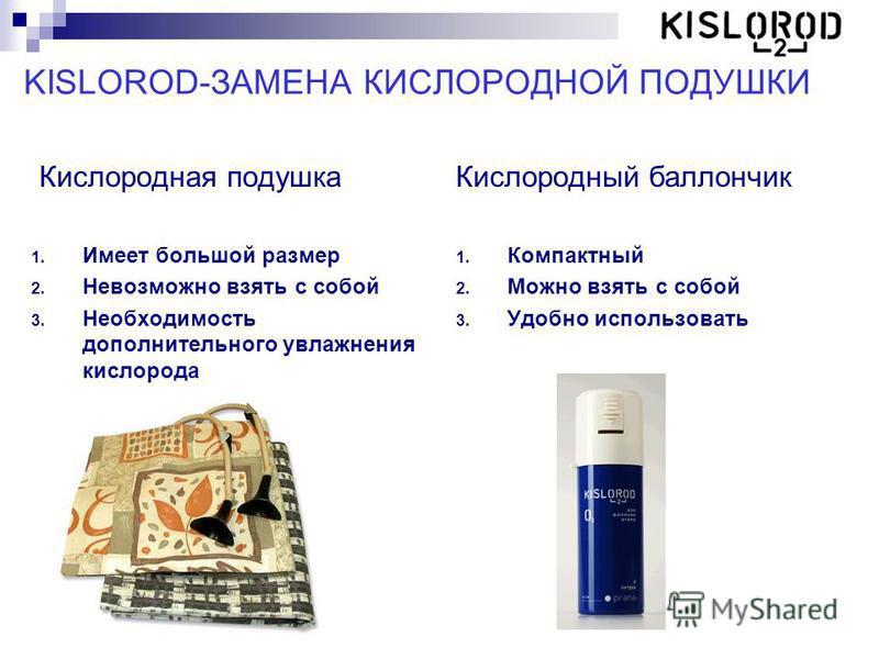 KISLOROD-ЗАМЕНА КИСЛОРОДНОЙ ПОДУШКИ Кислородная подушка 1. Имеет большой размер 2. Невозможно взять с собой 3. Необходимость дополнительного увлажнения кислорода Кислородный баллончик 1. Компактный 2. Можно взять с собой 3. Удобно использовать