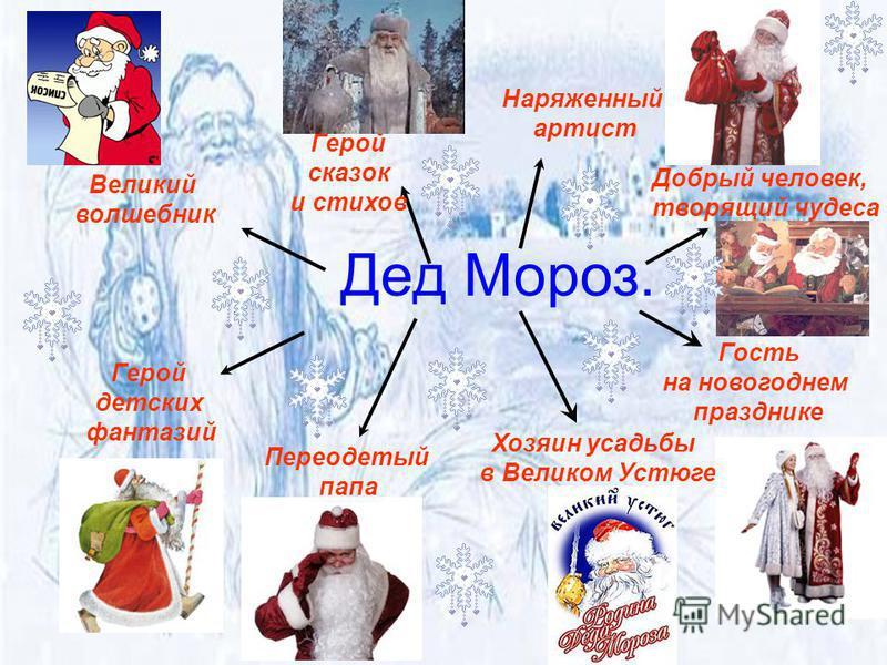 Имя: Мороз (Морозко, Трескун, Студенец), прообраз Деда Мороза Святого Николая Год рождения: более 2000 лет День рождения: 18 ноября Место проживания: Россия, г. Великий Устюг