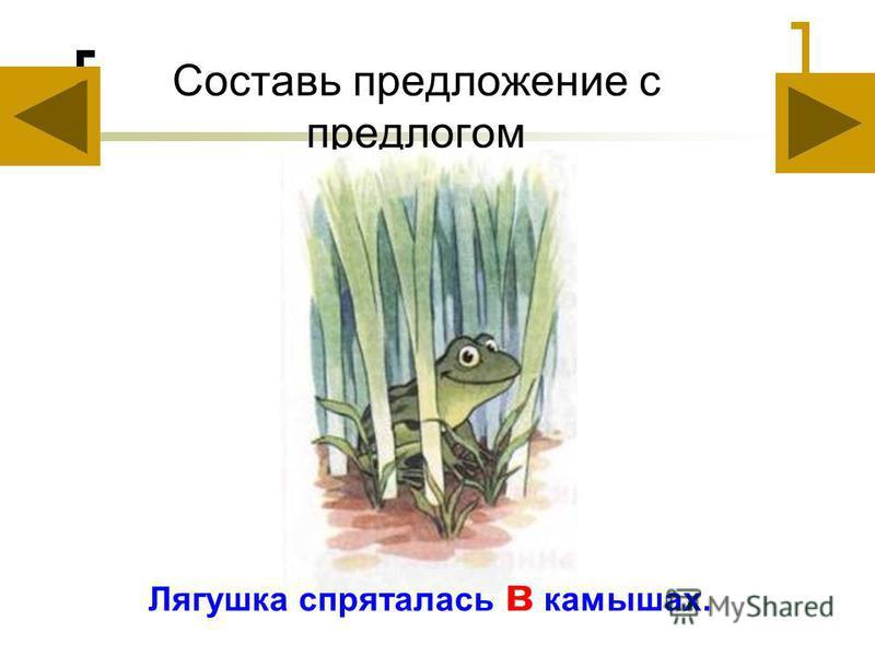 Составь предложение с предлогом Лягушка спряталась в камышах.