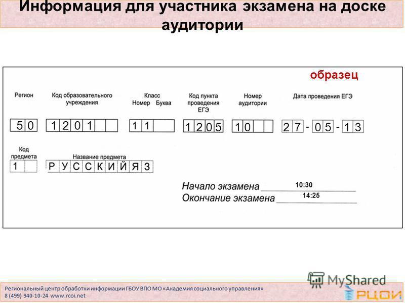 Информация для участника экзамена на доске аудитории 50 10:30 14:25 120510270513 образец 1201