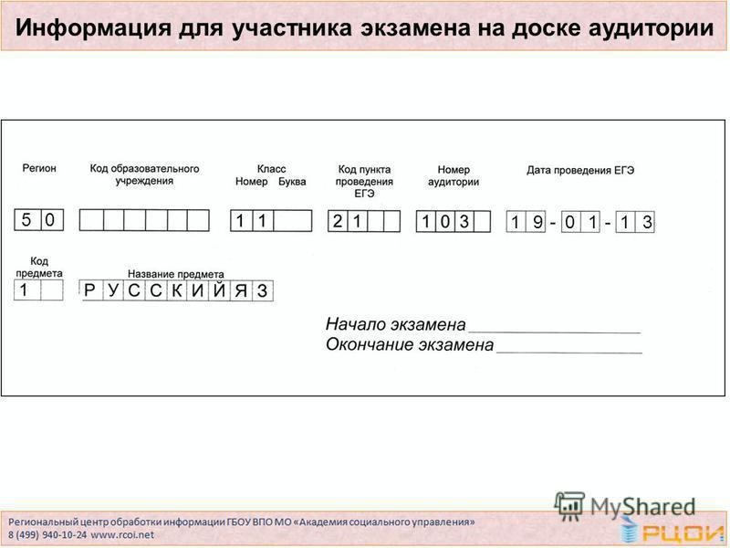 Информация для участника экзамена на доске аудитории 50 190113