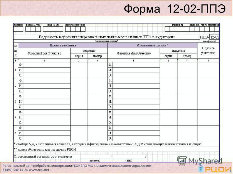 Форма 12-02-ППЭ