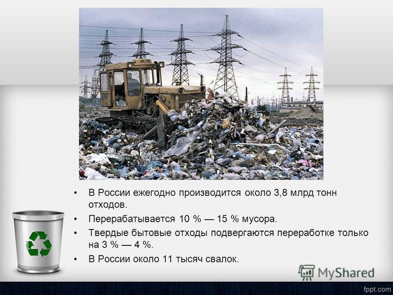 В России ежегодно производится около 3,8 млрд тонн отходов. Перерабатывается 10 % 15 % мусора. Твердые бытовые отходы подвергаются переработке только на 3 % 4 %. В России около 11 тысяч свалок.