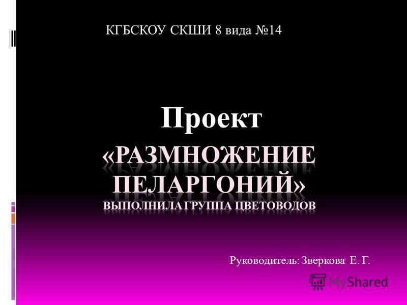 Проект КГБСКОУ СКШИ 8 вида 14 Руководитель: Зверкова Е. Г.