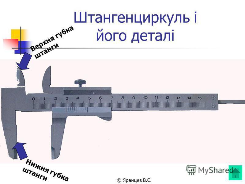 © Яранцев В.С. Штангенциркуль і його деталі Нижня губка штанги Верхня губка штанги