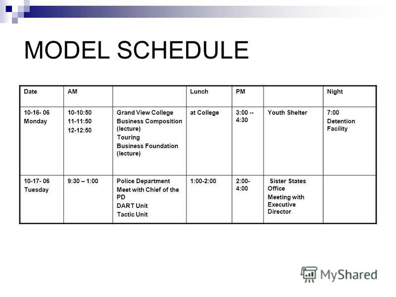 MODEL SCHEDULE DateAMLunchPMNight 10-16- 06 Monday 10-10:50 11-11:50 12-12:50 Grand View College Business Composition (lecture) Touring Business Foundation (lecture) at College3:00 -- 4:30 Youth Shelter7:00 Detention Facility 10-17- 06 Tuesday 9:30 –