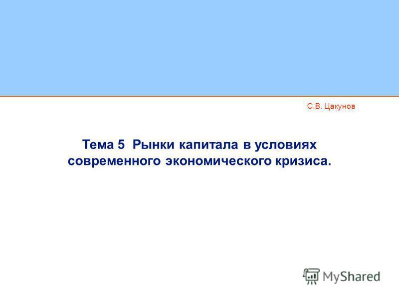С.В. Цакунов Тема 5 Рынки капитала в условиях современного экономического кризиса.