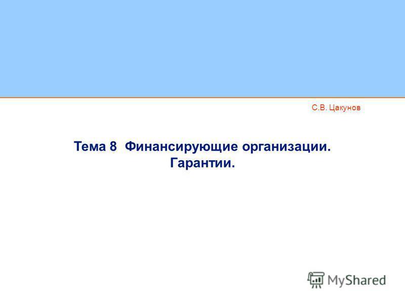 С.В. Цакунов Тема 8 Финансирующие организации. Гарантии.