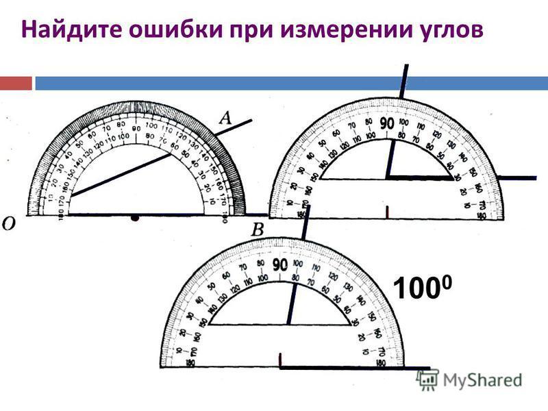 Найдите ошибки при измерении углов 100 0