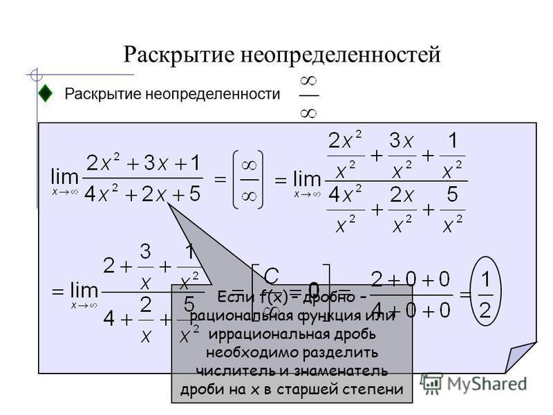Раскрытие неопределенностей Раскрытие неопределенности Если f(x) – дробно – рациональная функция или иррациональная дробь необходимо разделить числитель и знаменатель дроби на x в старшей степени